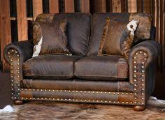 Western Furniture: Outlaw Prairie Dust Loveseat with Hair on Hide|Lone Star Western Decor