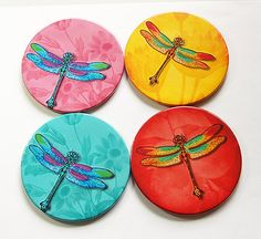 Dragonfly Coasters Wine Coasters Coasters Drink Coasters