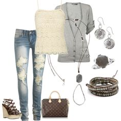 a little touch of lace with wedge sandals, holy jeans and a sweater..perfect daytime outfit