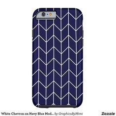 White Chevron on Navy Blue Modern Chic Tough iPhone 6 Case