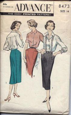 Vintage 50s 60s Blouse And Slim Skirt Pattern Advance 8473 Size 14