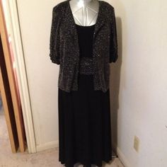 Dressy Knit Dress Sleeveless with short sleeve jacket. Over jacket and waist ruching are same sparkly fabric. Perceptions  Dresses