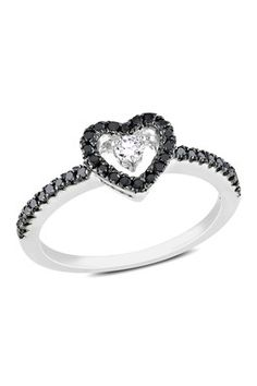 Two-Tone Black & White Diamond Open Heart Ring - 0.25 ctw