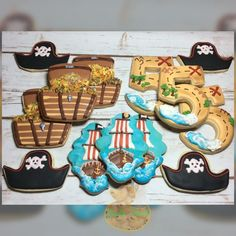 Pirate cookies, treasure chest cookies, treasure map cookies , number cookies, pirate ship cookie, pirate theme decorated sugar cookies with royal icing. Twin Birthday Parties, Pirate Birthday, Pirate Theme, 8th Birthday, Duck Cookies, Sugar Cookies, Cookie Designs, Cookie Ideas, Halloween Biscuits