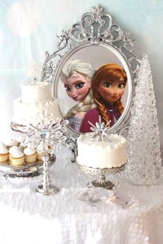 Gorgeous decor at a Frozen birthday party! See more party planning ideas at CatchMyParty.com!