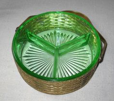 Depression Glass Divided dish insert with by VintageGlassGoddess