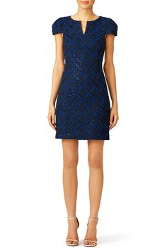 Blue v-neck dress with black and metallic print. Perfect for a fall rehearsal dinner!  4.collective Blue Victoria Jacquard Dress