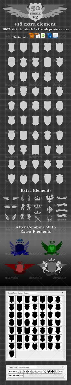 50 Shield v2 Custom Shapes