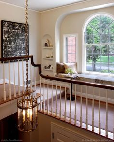 great built-in window seat in the hallway