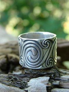 Celtic Spirals Ring in Fine Silver by soulharborjewelry on Etsy