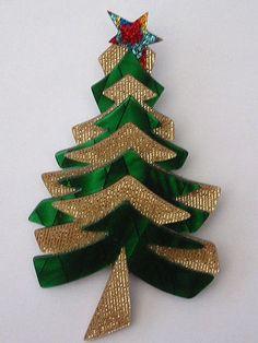 Lea Stein Christmas tree brooch