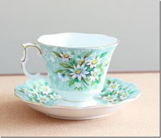 Vintage Royal Albert blue and white daisy teacup and saucer