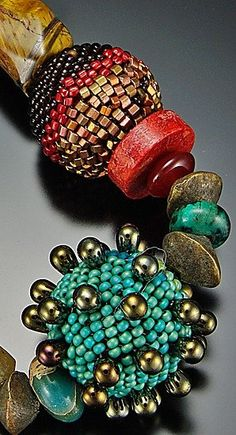 Julie Powell bead | ... Turquoise Bronze Necklace: Julie Powell: Beaded Necklace - Artful Home