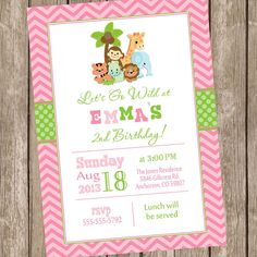 Safari birthday invitation jungle invitation by ModernBeautiful