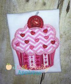 Sweetheart Cupcake Applique Design