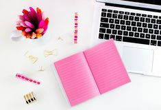 pink. girly. desk. office. blog. website. shop. diary. gold.