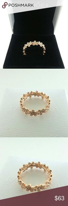 Pandora Rose Gold Dazzling Daisy Band Ring 5 6 Pandora Rose Gold Dazzling Daisy Band Ring 180934CZ Size 5, 6    Part of Rose gold collection  New and never used   % 100 authentic  R/ale hallmark stamps on it   Official Pandora black velvet box with purchase  If you interested in another item on my list please ask me, I do combine     Enjoy shopping Jewelry Rings