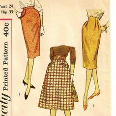 A Set of 1950s Style Skirts: Slim Skirt, Raised Waistline Skirt, Softly Flared Skirt Patterns by SoSewSome on Etsy