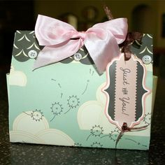 adorable gift box from 1 sheet of scrapbook paper. Scallop, button & bow closure with tag! :)