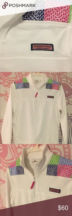 Colorful whales on a white Vineyard Vines pullover Colorful whales on a white Vineyard Vines pullover. Size Small Vineyard Vines Sweaters V-Necks