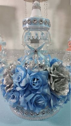 Royal Baby Shower Centerpiece For Royal Baby Shower/Baby Blue & Silver Centerpiece/Frozen Theme/ Royal Baby Shower Themes and Decorations - Royal Baby Shower Theme, Royal Baby Showers, Baby Shower Princess, Baby Shower Themes, Shower Ideas, Baby Shower Crafts, Baby Shower Favors, Baby Shower Parties, Shower Party