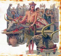 """Minoans of Crete ~ """"Sacrifice of bulls, animal symbol of the king. Another emblem of power was the double ax (the background), call labris. From this term derives the word 'labyrinth': The Palace of axes"""""""