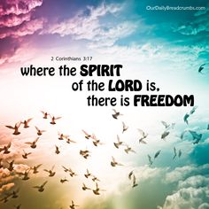 where the SPIRITof the LORD is,there is FREEDOM! 2 Corinthians 3: 17  #Freedom, #God, #HolySpirit  https://www.ourdailybreadcrumbs.com/2-corinthians-3-17/