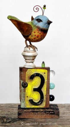/ folk art assemblage piece by greg guedel / hand carved bird with found objects and marbles / Found Object Art, Found Art, Collages, Collage Art, Scrap Metal Art, Sculpture Art, Metal Sculptures, Abstract Sculpture, Bronze Sculpture