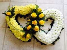 Stunning double heart tribute by Lily White Florist Grave Flowers, Church Flowers, Funeral Flowers, Funeral Floral Arrangements, Creative Flower Arrangements, Grave Decorations, Flower Decorations, Sunflower Burlap Wreaths, Funeral Tributes
