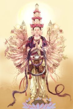 Avalokiteśvara, the bodhisattva of compassion, who has a thousands heads and a thousand hands so she can reach all the suffering people in the world