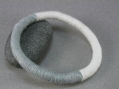 grey and white fiber wrapped soft bangle bracelet 917