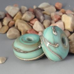 Handmade Lampwork Glass Beads Turquoise Swirl by LazyCatBeads, $7.00