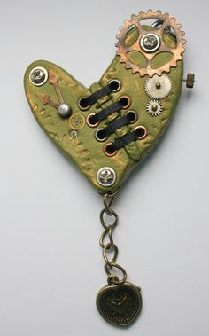 Steampunk polymer clay heart shaped pendant  by ChasingWhimsies, $16.99
