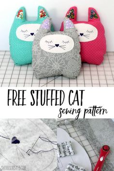 Sew up a free stuffed cat sewing pattern with this easy beginner sewing tutorial! See the video or photo walk through to sew this simple stuffed animal pattern.