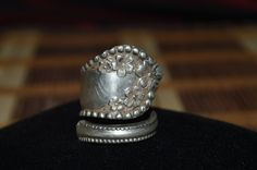 Hand Hammered / Made Wide Silver Spoon Floral & Beaded Edge Ring Size 9   #Handmade #vintagespoonring