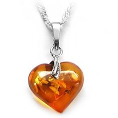 Baltic Amber Heart Silver Necklace with Chain