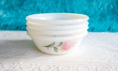 Mid Century Milk Glass Small Bowls by Diplomat Royale, Opal Ware Bowl Set