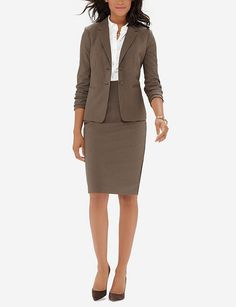 Brown Collection Pencil Skirt & Two Button Jacket Office Fashion, Business Fashion, Women's Fashion, Suits For Women, Jackets For Women, Skirt Suit Set, High Waisted Pencil Skirt, Weekend Wear, Vestidos