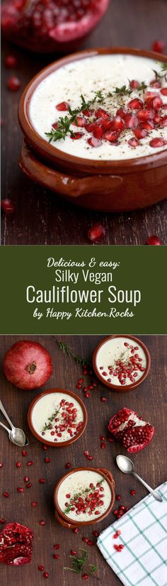 Delicious and easy silky vegan cauliflower soup recipe ready in less than 30 minutes! Rich, creamy, healthy and comforting winter soup packed with nutrients. Gluten-free, low carb, vegetarian, dairy-free.
