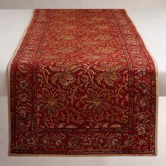 WorldMarket.com: Kalamkari Red Table Runner  $25. Also placemats & napkins.