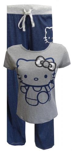 Hello Kitty Let It Shine Blue/Gray Pajama Set Let your love for Hello Kitty shine in this comfy pajama set! The heathered gray tee has a large Kitty face with a giant sequin bow for some glamour. Shirt sleeves and bottom edge have exposed silver stitching. The heather blue pants have the same silver stitching down the side and on the bottom hem, as well as a silver HK face. Machine washable and easy care. Junior cut in length, slightly more full in body.