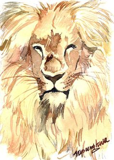 ACEO Limited Edition 1/25- Smily lion, Animal painting, Animal art print of an original watercolor painting, Cute painting for animal lovers