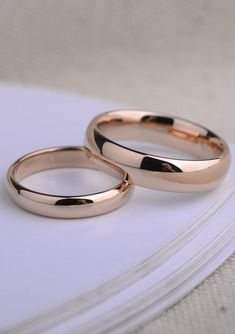 Matching His and Hers Rose Gold Tungsten Wedding Bands Set @ iDream-Jewelry.Com #weddingbands