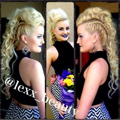 A curl faux hawk Mohawk I did for a friend. Soo much fun and totally reminded me of a unicorn. Curls, Mohawk, braids follow @lexx_beauty via Instagram