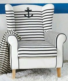 Upholstering a Chair Coastal Style -How To & Upholstered Chair Ideas - Coastal Decor Ideas and Interior Design Inspiration Images Coastal Style, Coastal Living, Coastal Decor, Nantucket Style, Nautical Bedroom, Nautical Home, Nautical Design, Nautical Stripes, Nautical Office