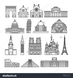 Monuments thin line vector icons. Louvre and Colosseum, Pyramid and Arc de Triomphe