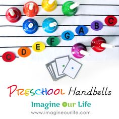 (Classroom: Instruments) Free printables ideas for preschool homeschool music lessons, notes, songs, etc. with handbells! Music For Toddlers, Music Lessons For Kids, Music Lesson Plans, Singing Lessons, Piano Lessons, Singing Tips, Toddler Music, Kindergarten Music Lessons, Preschool Music Activities
