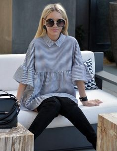Simply Turn-Down Collar Casual Blouse Dress. Love this hipster style dress Stylish Dresses, Stylish Outfits, Fashion Outfits, Dress Fashion, Marine Look, Hipster Fashion, Hipster Style, Blouse Dress, Mode Inspiration