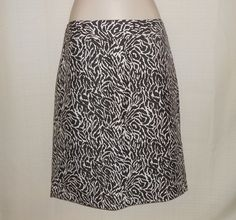 ANN TAYLOR LOFT Skirt Straight Pencil Women Size 10 Brown White Cotton SILK #AnnTaylorLOFT…