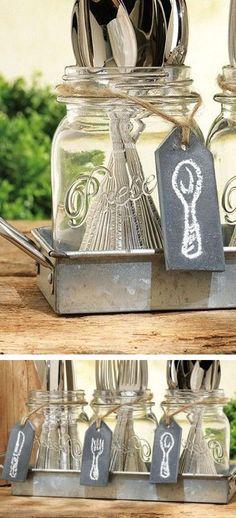 DIY Supplies & Accessories: Mason Jar Flatware Caddy // #diy #inspiration…